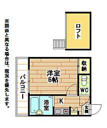 福岡県北九州市八幡西区東筑1丁目の賃貸アパートの間取り