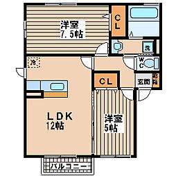 大阪府茨木市東太田2丁目の賃貸アパートの間取り