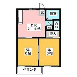 コートビレッジJUN A棟[2階]の間取り