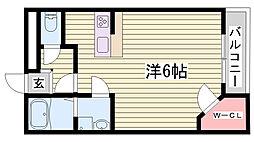 山陽電鉄本線 大塩駅 徒歩8分の賃貸アパート 2階1Kの間取り