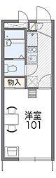 南海高野線 北野田駅 徒歩22分の賃貸アパート 2階1Kの間取り