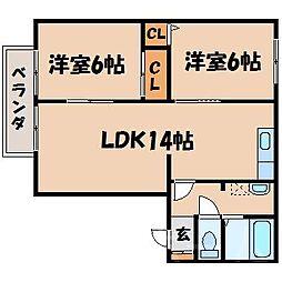 広島県広島市安芸区瀬野3丁目の賃貸アパートの間取り