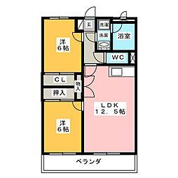 愛知県名古屋市緑区鶴が沢3丁目の賃貸マンションの間取り