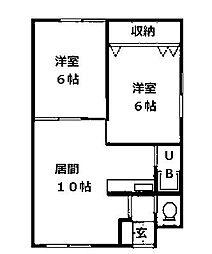 北海道札幌市南区藤野二条4丁目の賃貸アパートの間取り