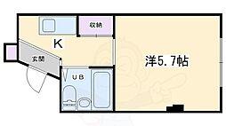 マンションサンウォーター 3階1Kの間取り