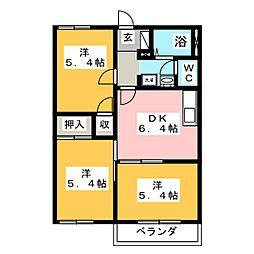 ルミエール黒田 B[2階]の間取り