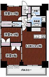 東京メトロ丸ノ内線 新宿御苑前駅 徒歩5分の賃貸マンション 4階3LDKの間取り