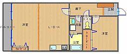 JR長崎本線 長与駅 徒歩10分の賃貸マンション 1階2LDKの間取り