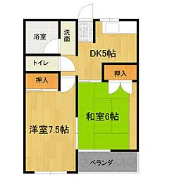 二村マンション[2A号室]の間取り