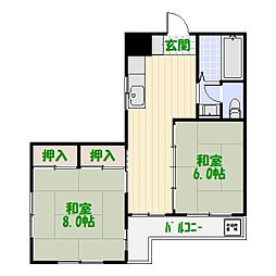 第二テルコマンション[105号室]の間取り
