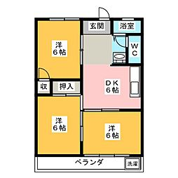 カスミハイツ[3階]の間取り