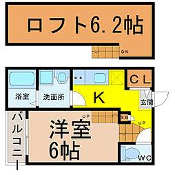 愛知県名古屋市中村区西米野町4丁目の賃貸アパートの間取り