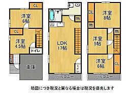 大阪市東淀川区西淡路2丁目 中古一戸建て 5LDKの間取り