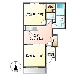 岡山県倉敷市南畝7の賃貸アパートの間取り