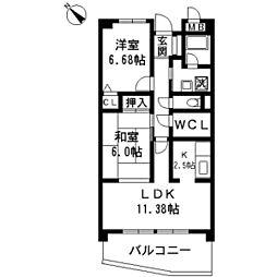 ヴィラ安堂寺II[1階]の間取り