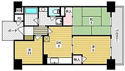 ライオンズマンション高槻[6階]の間取り