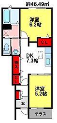 フェリーチェ三本松[1階]の間取り