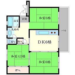 粟生第二住宅38棟[5階]の間取り