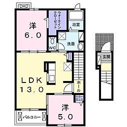 エレガンツァ フィオーレ[2階]の間取り