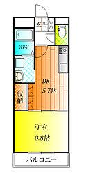 近鉄長野線 喜志駅 徒歩4分の賃貸マンション 1階1DKの間取り