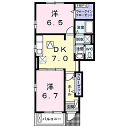 南海高野線 金剛駅 徒歩20分の賃貸アパート 1階2DKの間取り