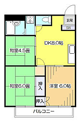 東京都東村山市野口町2丁目の賃貸アパートの間取り