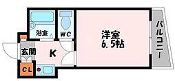 ロータリーマンション大門町 5階1Kの間取り
