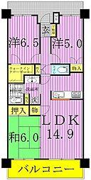 千葉県松戸市六高台3丁目の賃貸マンションの間取り