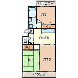 静岡県三島市梅名の賃貸マンションの間取り