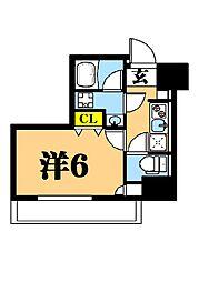 LUXENA東品川 6階1Kの間取り