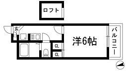 大阪府池田市天神1丁目の賃貸アパートの間取り