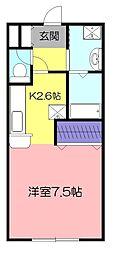 東京都小平市美園町2の賃貸アパートの間取り