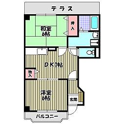 大阪府大阪狭山市東池尻3丁目の賃貸アパートの間取り