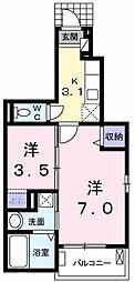 東京都昭島市朝日町2丁目の賃貸アパートの間取り