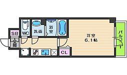 スプランディッド天王寺パークサイド 3階1Kの間取り