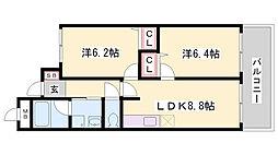 メロディ三宮東[4階]の間取り