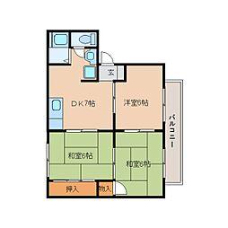 奈良県葛城市新庄の賃貸アパートの間取り