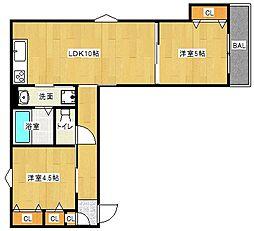 Osaka Metro谷町線 大日駅 徒歩10分の賃貸アパート 2階2LDKの間取り