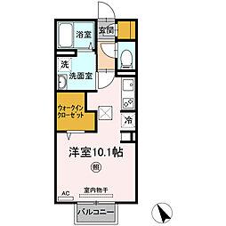 仮称)D-room上井 2階ワンルームの間取り