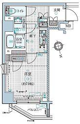 東京メトロ東西線 早稲田駅 徒歩13分の賃貸マンション 7階1Kの間取り