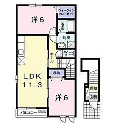 福岡県北九州市八幡西区下畑町の賃貸アパートの間取り