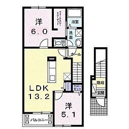 静岡県富士市水戸島2丁目の賃貸アパートの間取り