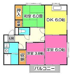 埼玉県所沢市小手指南5丁目の賃貸アパートの間取り