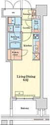都営浅草線 泉岳寺駅 徒歩14分の賃貸マンション 8階ワンルームの間取り