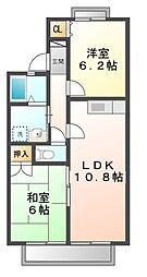 滋賀県大津市下阪本3丁目の賃貸アパートの間取り