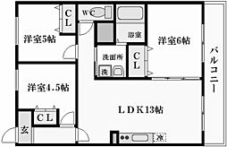 兵庫県西宮市新甲陽町の賃貸マンションの間取り