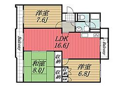 千葉県富里市日吉台4丁目の賃貸マンションの間取り
