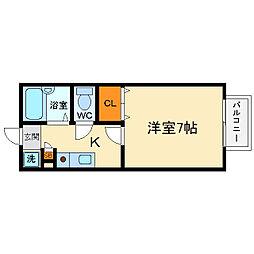 大阪府箕面市小野原西1丁目の賃貸アパートの間取り