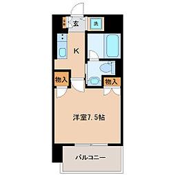 仙台市地下鉄東西線 大町西公園駅 徒歩7分の賃貸マンション 8階1Kの間取り