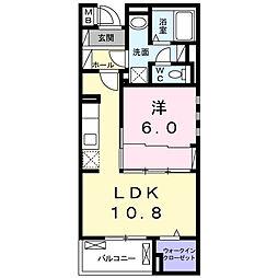 小田急小田原線 相武台前駅 徒歩9分の賃貸マンション 2階1LDKの間取り